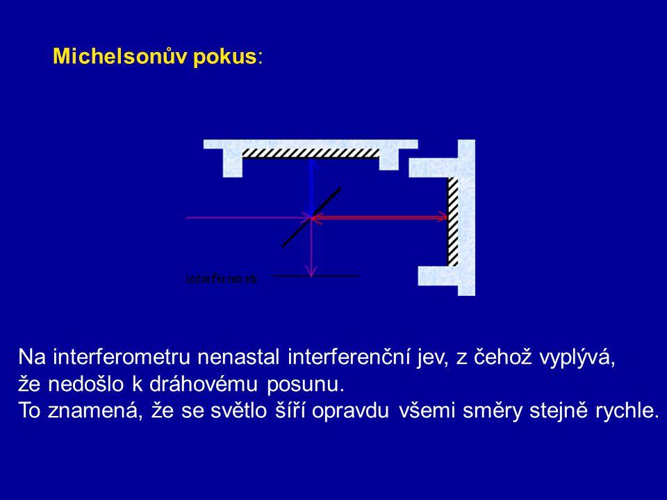 Michelsonův pokus: Na interferometru nenastal interferenční jev, z čehož vyplývá, že nedošlo k dráhovému posunu.