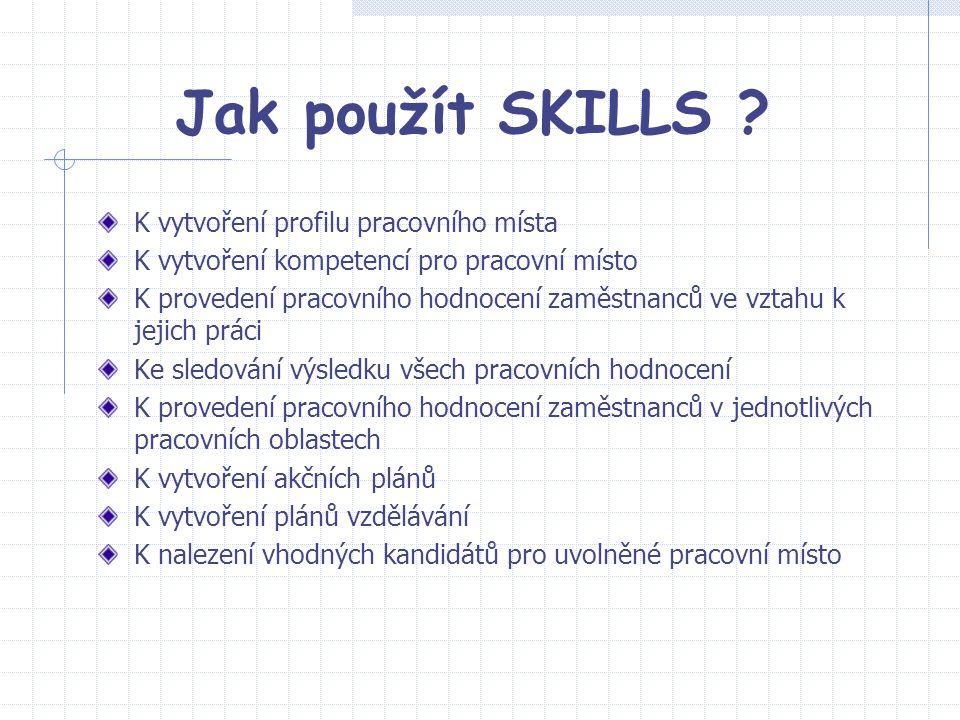 Jak použít SKILLS K vytvoření profilu pracovního místa