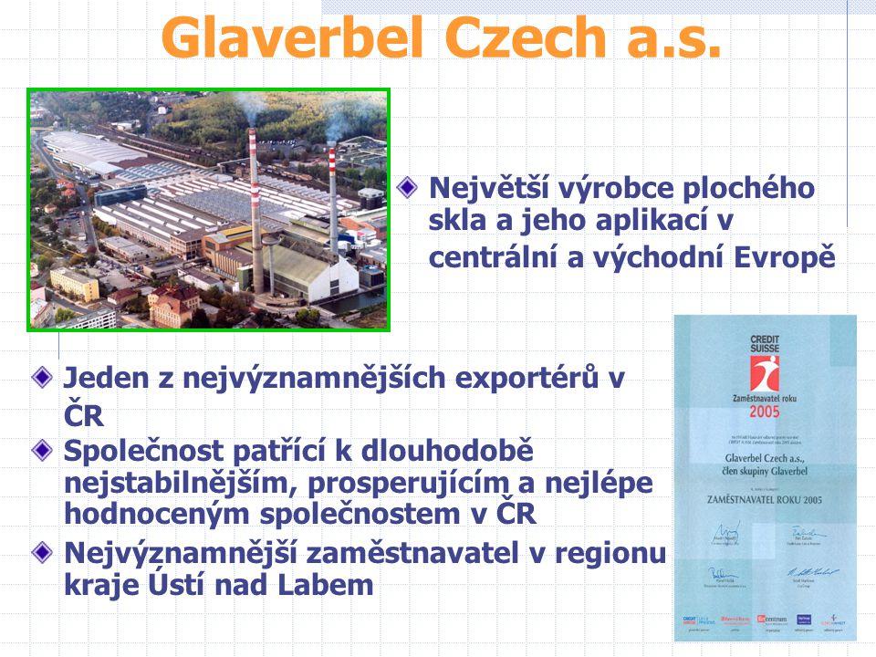 Glaverbel Czech a.s. Největší výrobce plochého skla a jeho aplikací v centrální a východní Evropě. Jeden z nejvýznamnějších exportérů v ČR.
