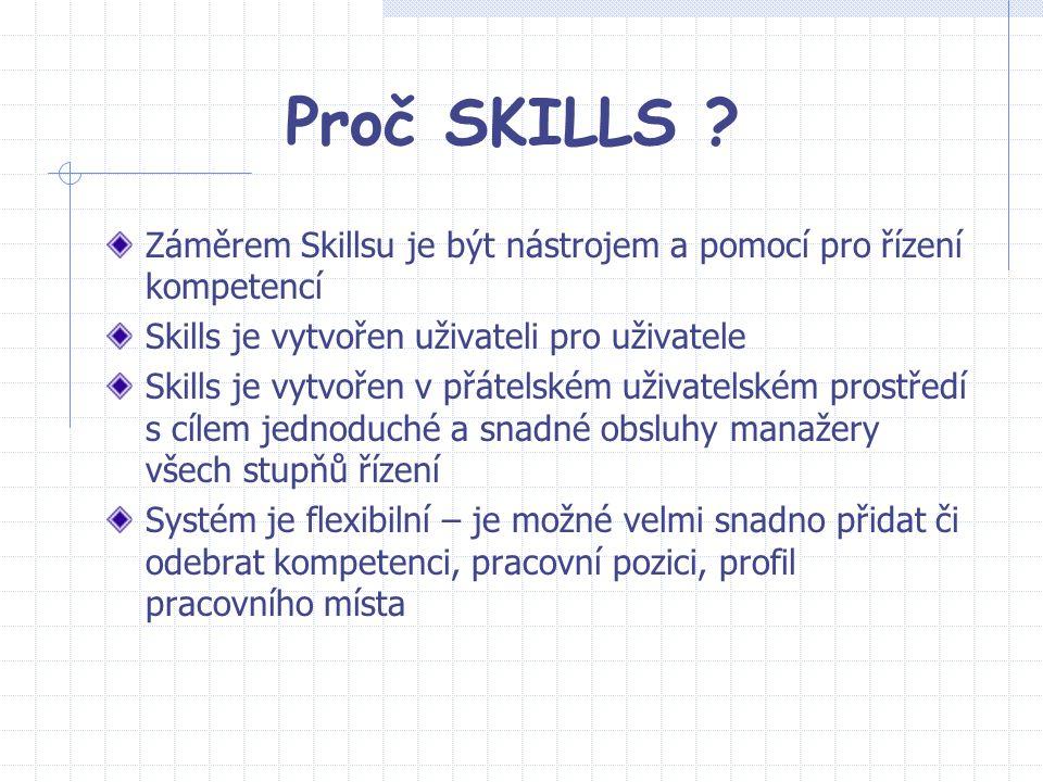 Proč SKILLS Záměrem Skillsu je být nástrojem a pomocí pro řízení kompetencí. Skills je vytvořen uživateli pro uživatele.