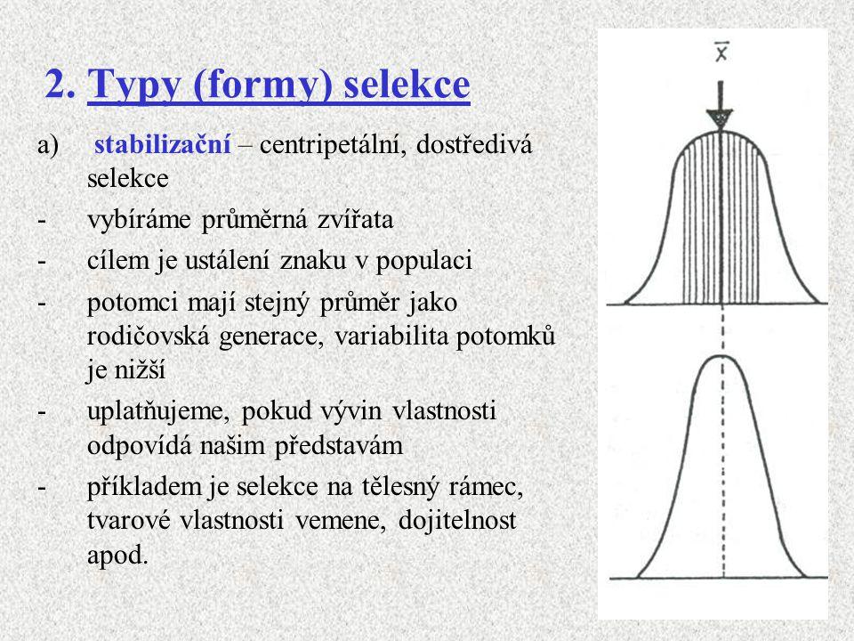 2. Typy (formy) selekce stabilizační – centripetální, dostředivá selekce. vybíráme průměrná zvířata.
