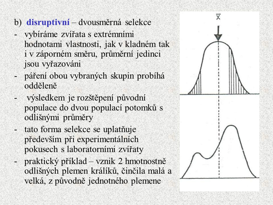 b) disruptivní – dvousměrná selekce