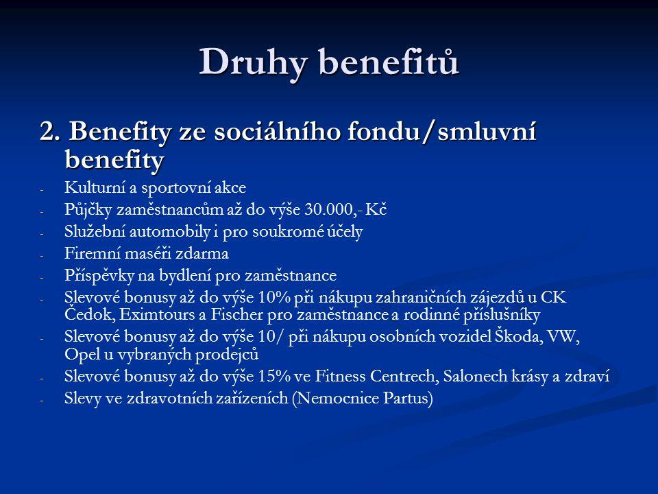 Druhy benefitů 2. Benefity ze sociálního fondu/smluvní benefity