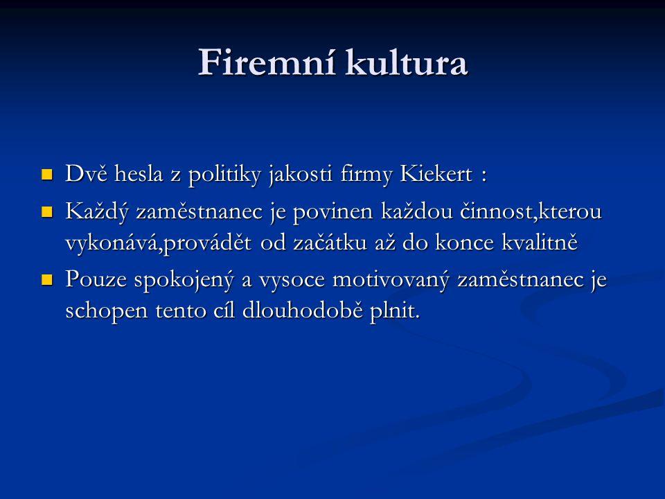 Firemní kultura Dvě hesla z politiky jakosti firmy Kiekert :