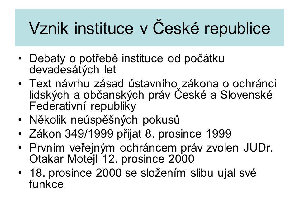 Vznik instituce v České republice