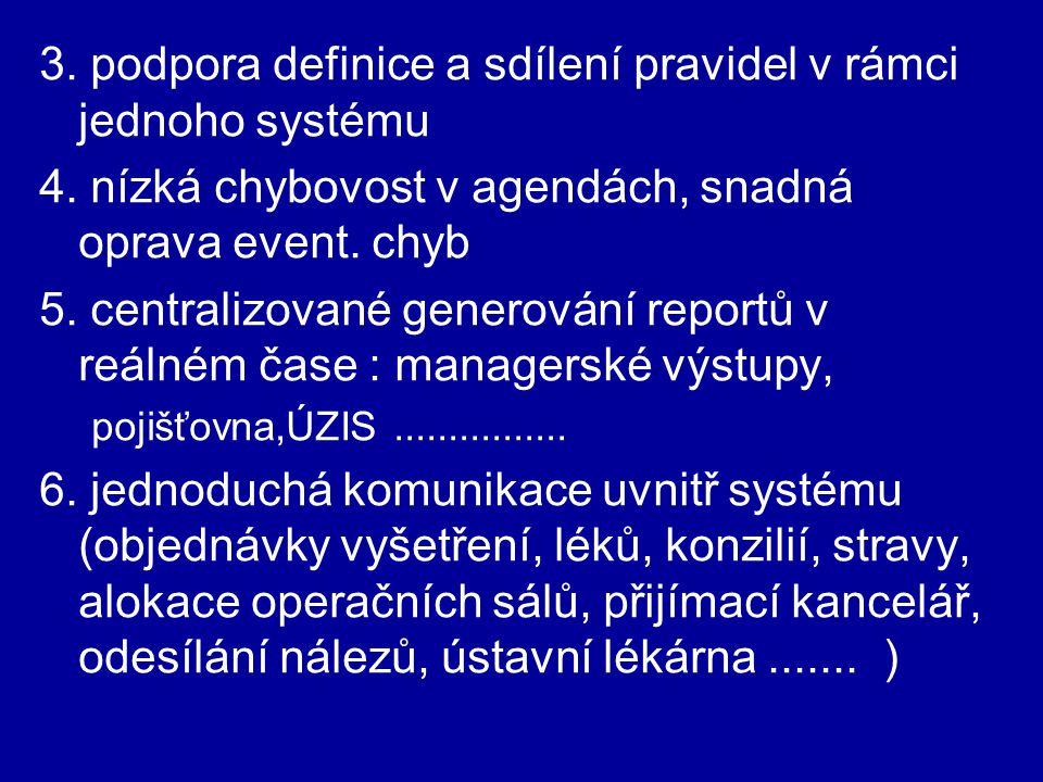3. podpora definice a sdílení pravidel v rámci jednoho systému