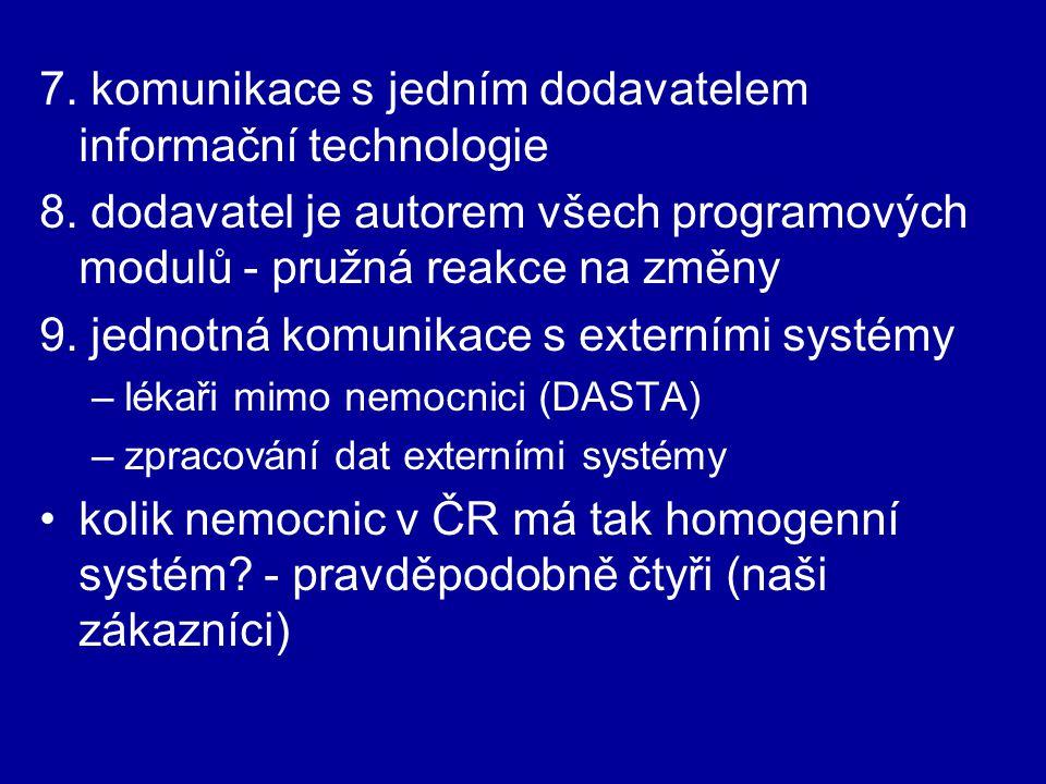 7. komunikace s jedním dodavatelem informační technologie