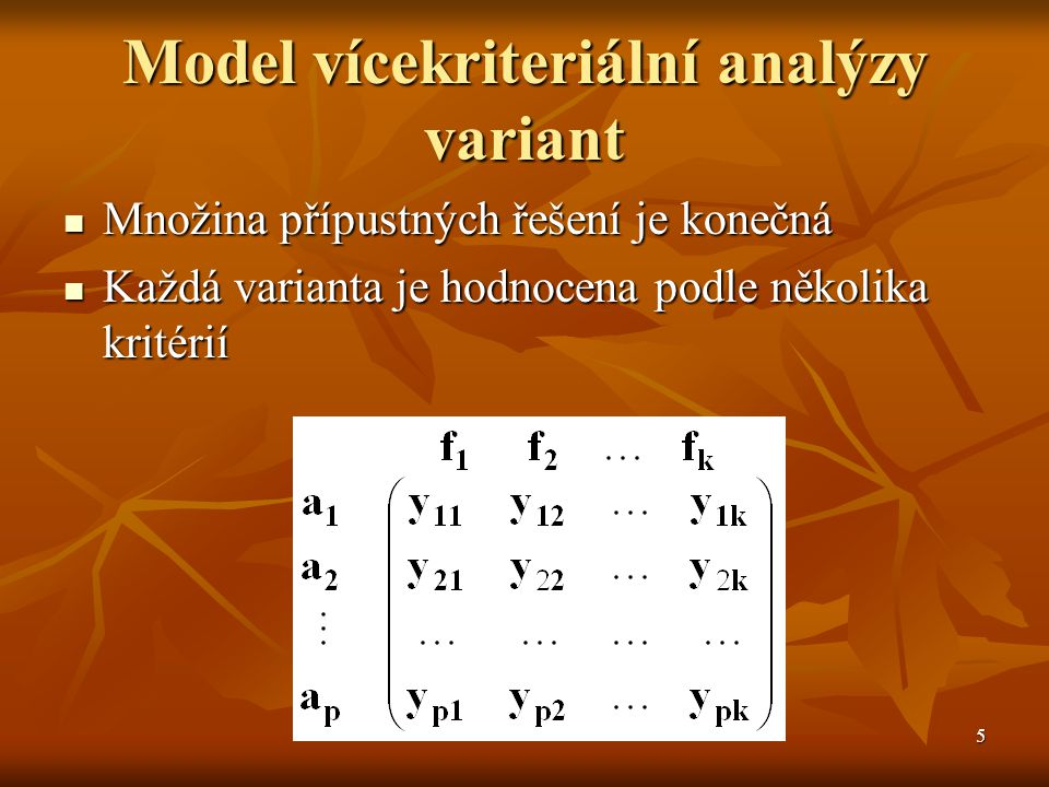 Model vícekriteriální analýzy variant