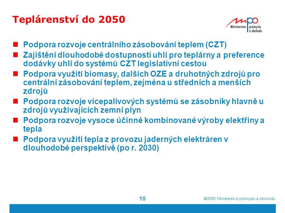 Teplárenství do 2050 Podpora rozvoje centrálního zásobování teplem (CZT)