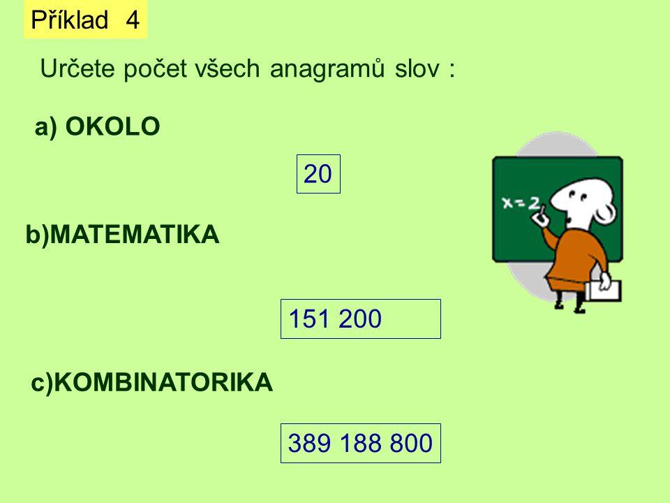 Příklad 4 Určete počet všech anagramů slov : a) OKOLO. 20. b)MATEMATIKA. 151 200. c)KOMBINATORIKA.