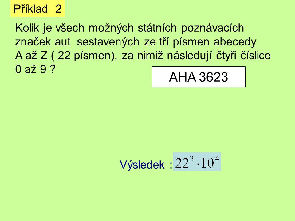 AHA 3623 Příklad 2 Kolik je všech možných státních poznávacích