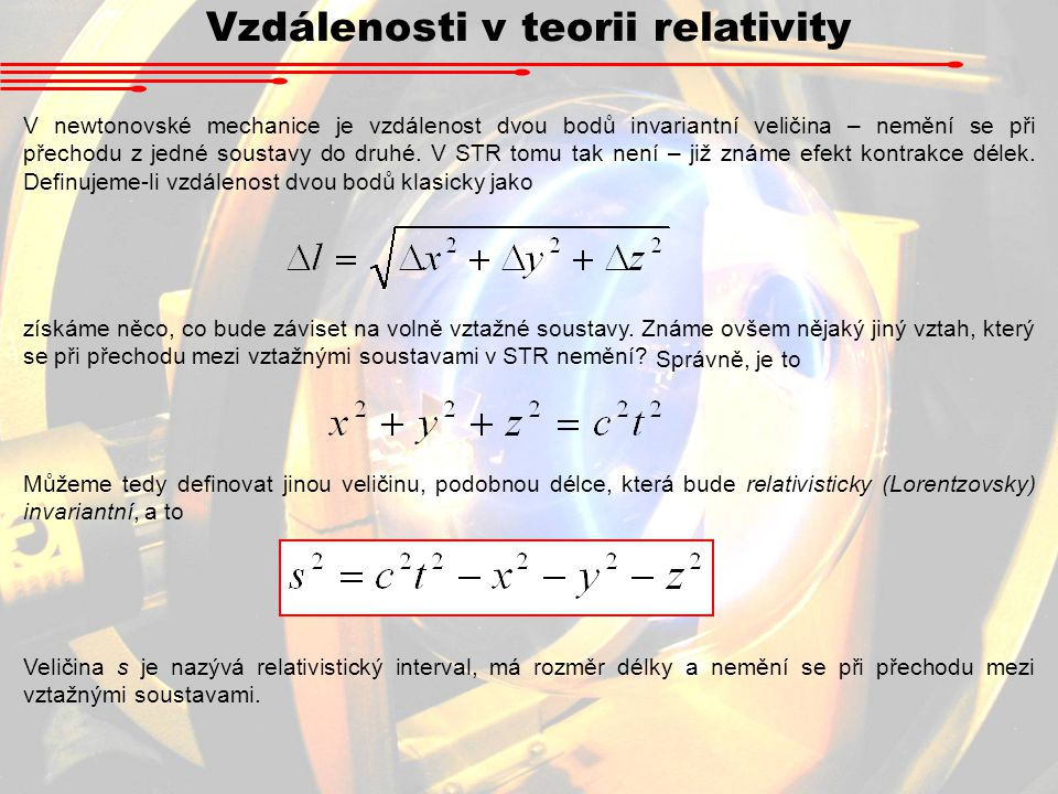 Vzdálenosti v teorii relativity