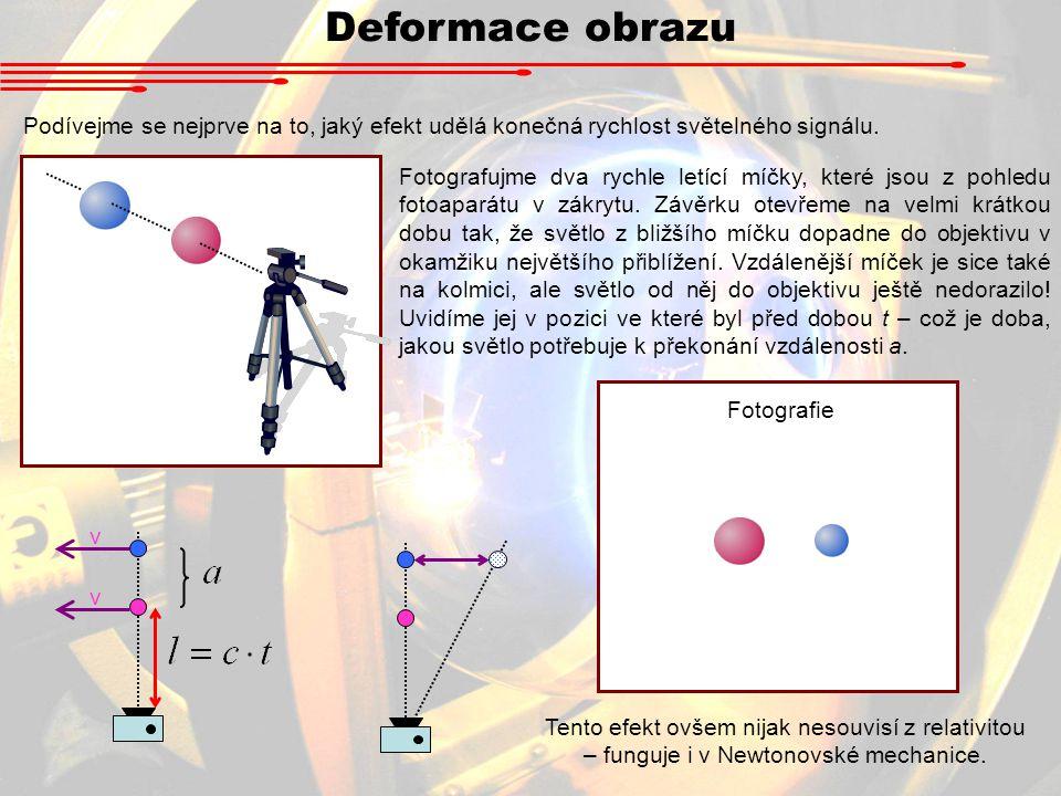 Deformace obrazu Podívejme se nejprve na to, jaký efekt udělá konečná rychlost světelného signálu.