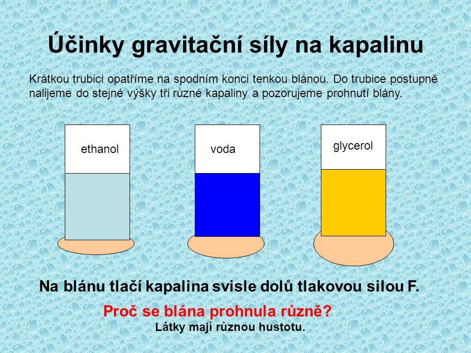 Účinky gravitační síly na kapalinu