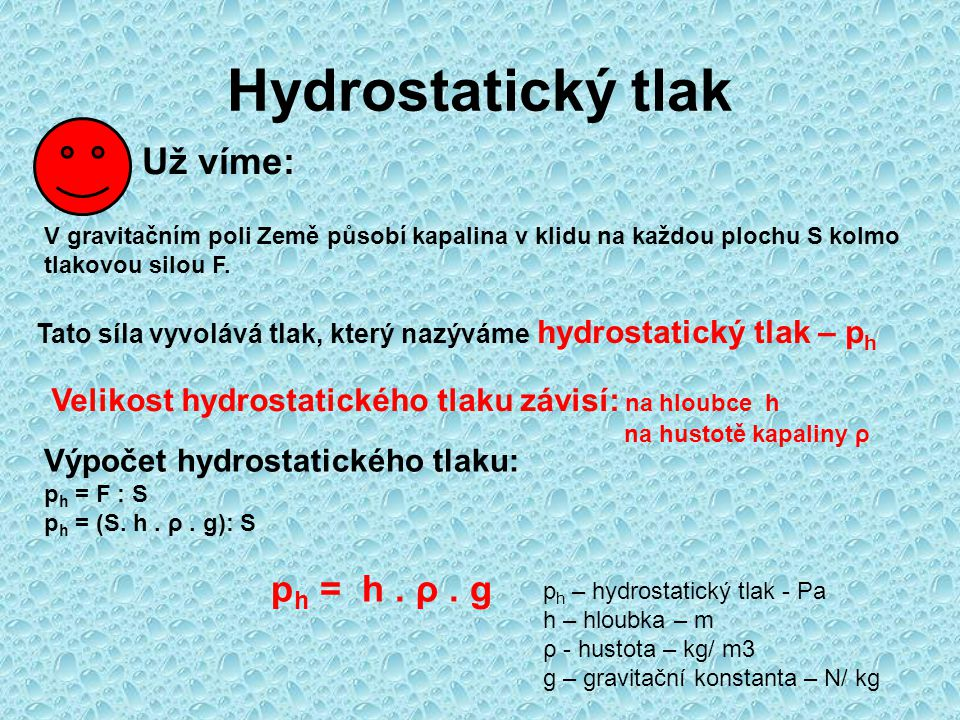 Hydrostatický tlak Už víme: ph = h . ρ . g