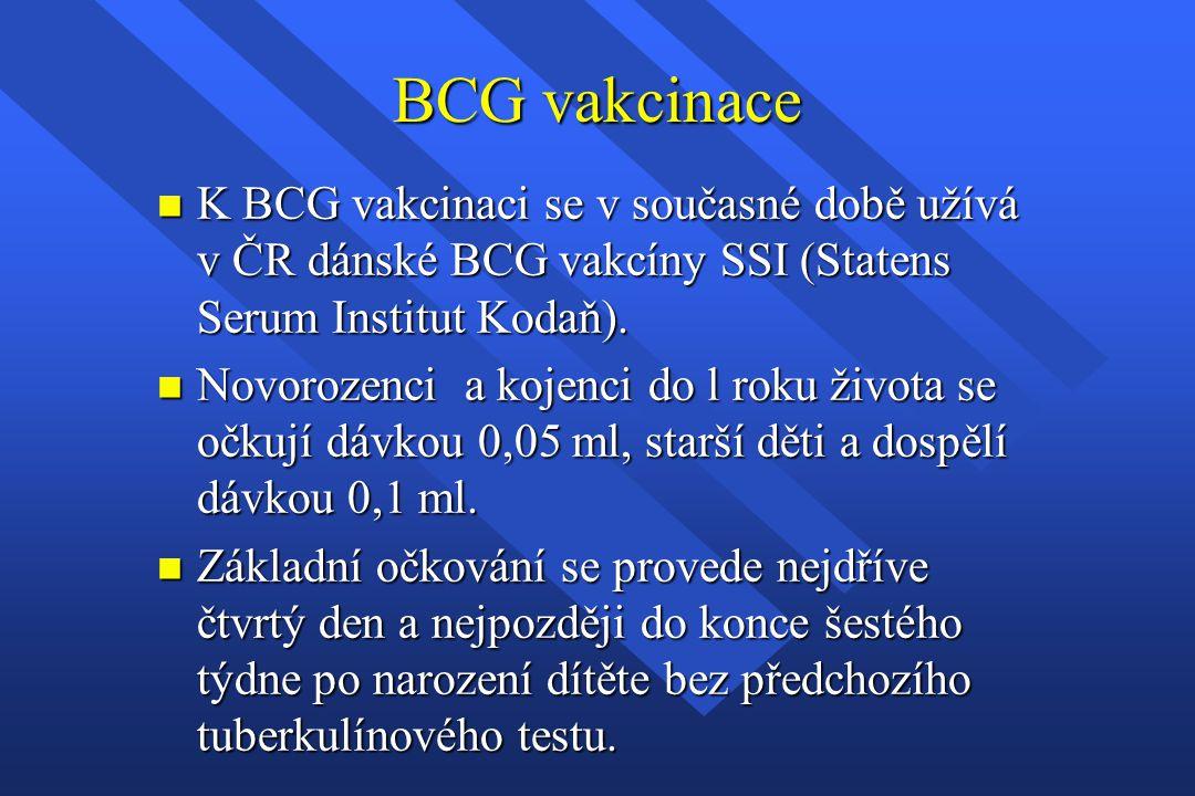 BCG vakcinace K BCG vakcinaci se v současné době užívá v ČR dánské BCG vakcíny SSI (Statens Serum Institut Kodaň).