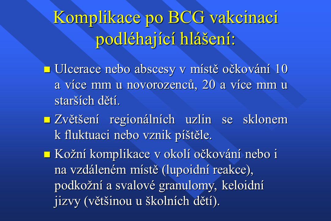 Komplikace po BCG vakcinaci podléhající hlášení: