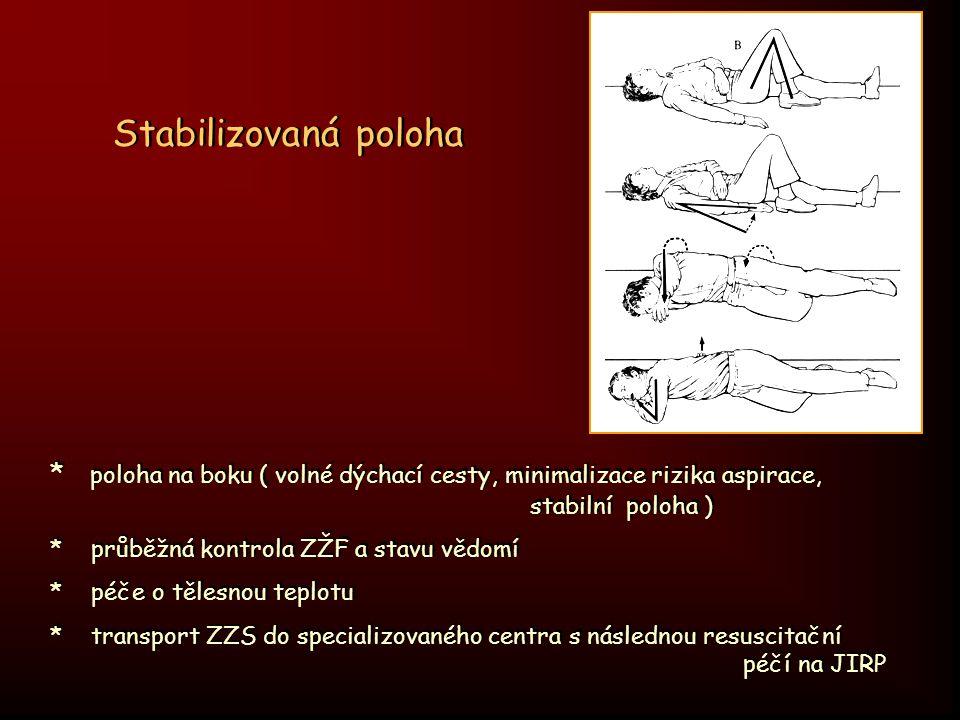Stabilizovaná poloha * poloha na boku ( volné dýchací cesty, minimalizace rizika aspirace, stabilní poloha )