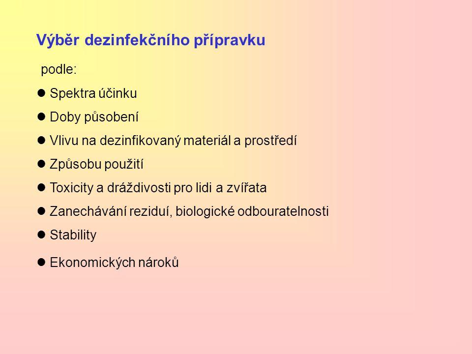 Výběr dezinfekčního přípravku podle: