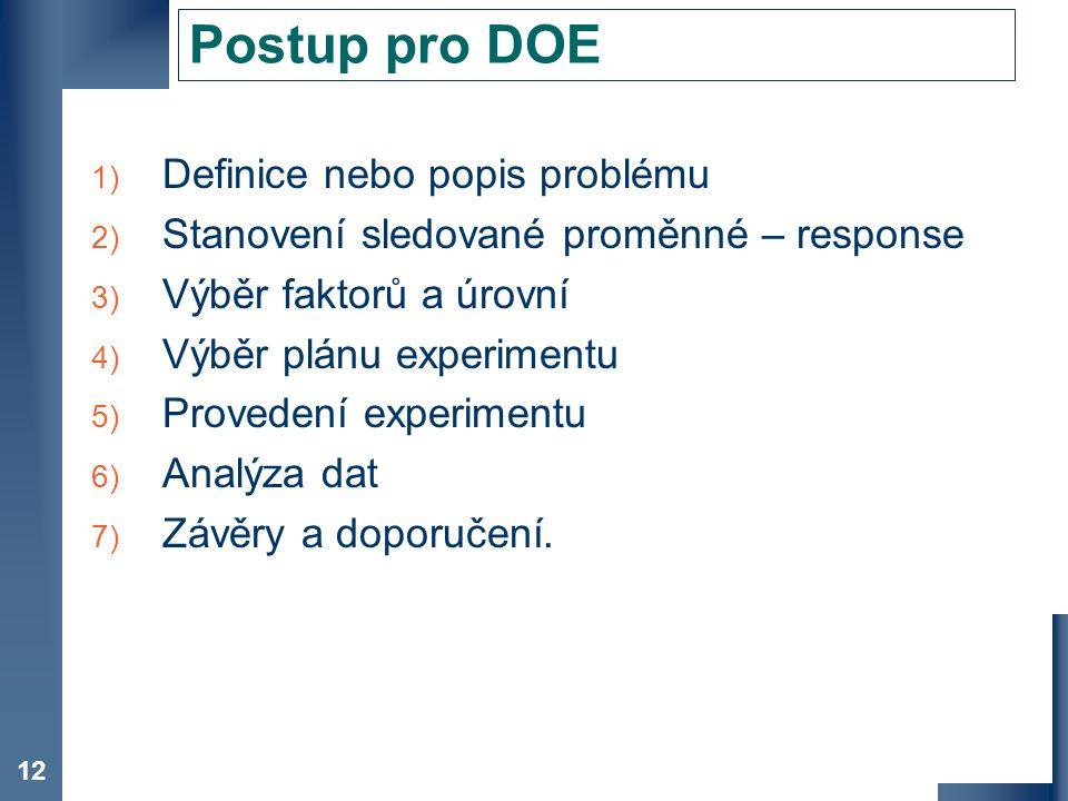 Postup pro DOE Definice nebo popis problému