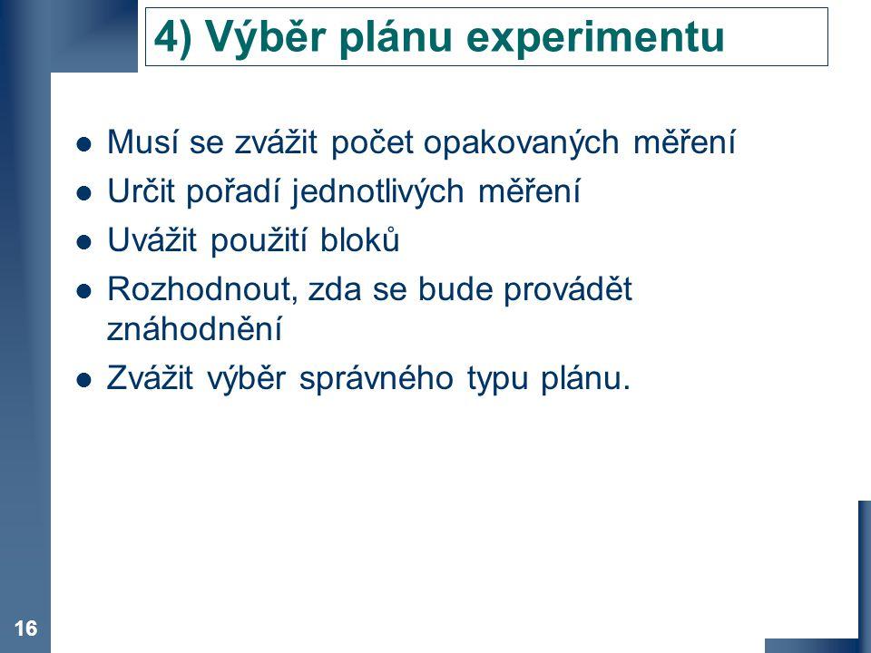 4) Výběr plánu experimentu
