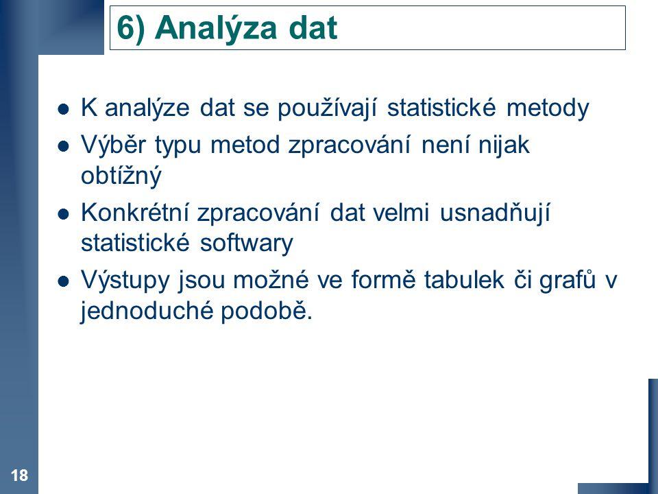 6) Analýza dat K analýze dat se používají statistické metody