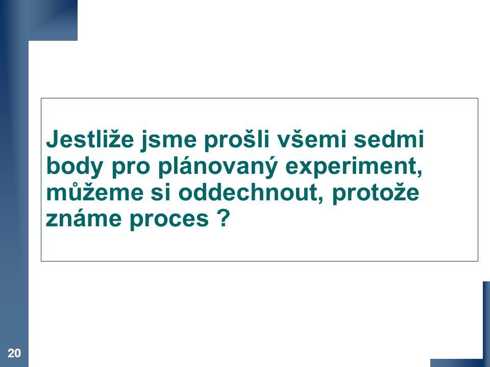 Co je DOE Jestliže jsme prošli všemi sedmi body pro plánovaný experiment, můžeme si oddechnout, protože známe proces