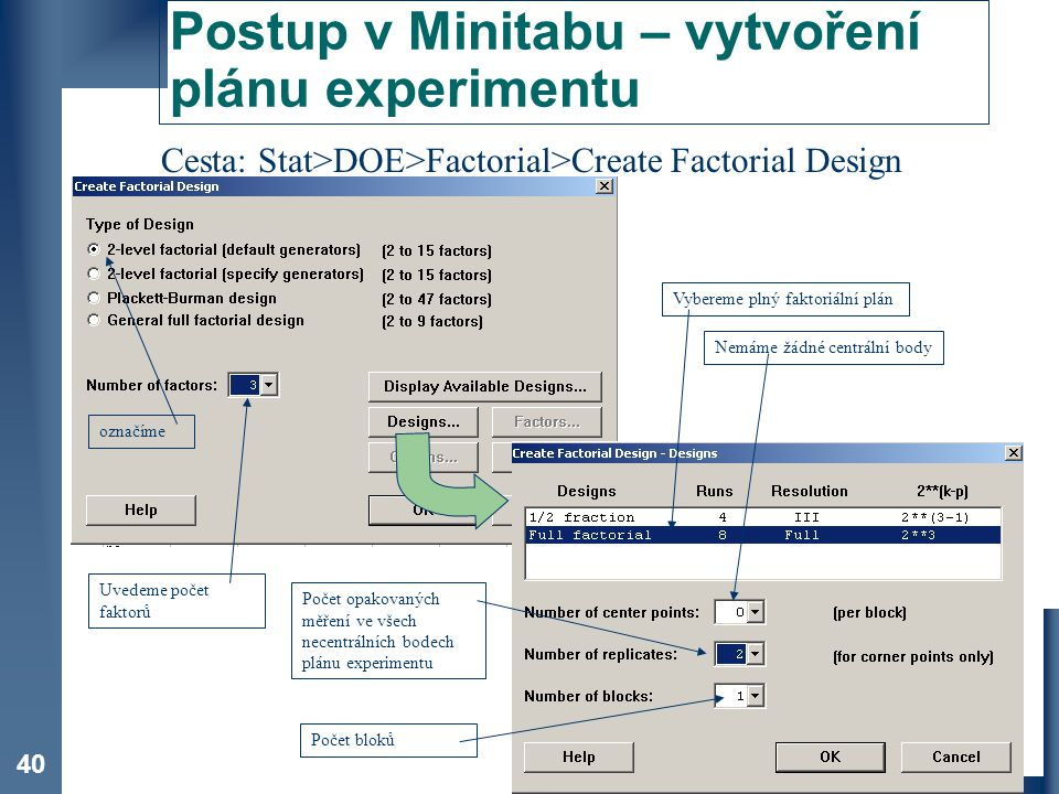 Postup v Minitabu – vytvoření plánu experimentu