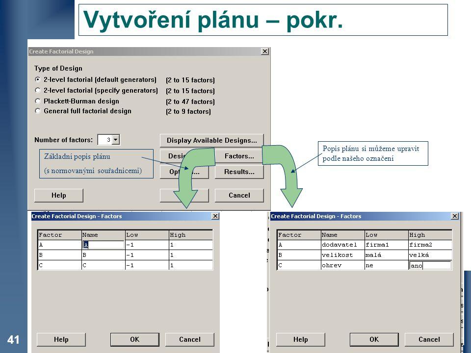 Vytvoření plánu – pokr. Popis plánu si můžeme upravit podle našeho označení. Základní popis plánu.