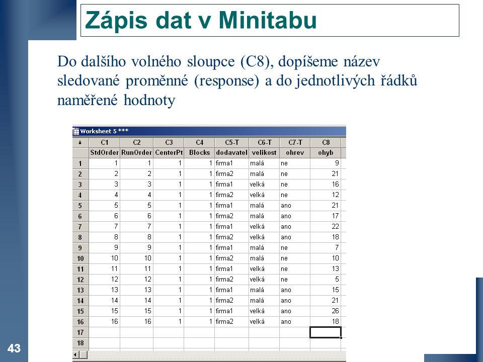 Zápis dat v Minitabu Do dalšího volného sloupce (C8), dopíšeme název sledované proměnné (response) a do jednotlivých řádků naměřené hodnoty.