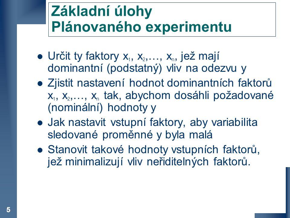 Základní úlohy Plánovaného experimentu