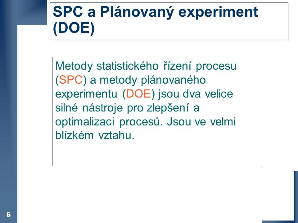 SPC a Plánovaný experiment (DOE)