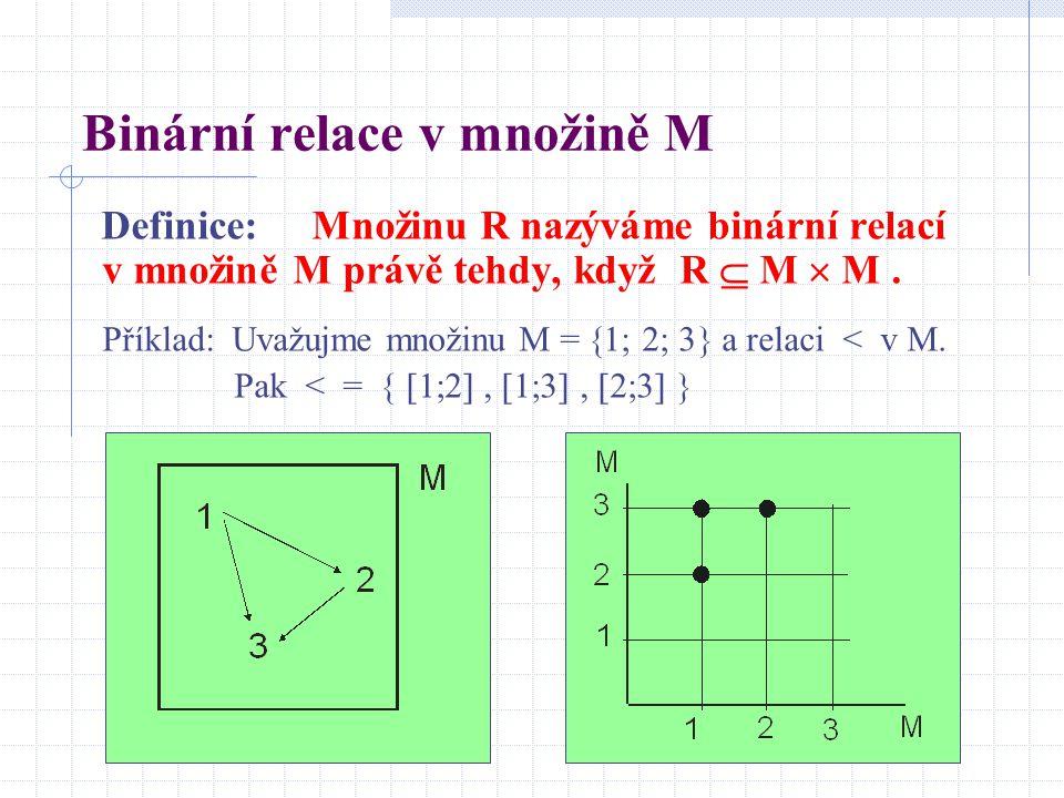 Binární relace v množině M