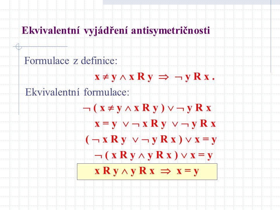 Ekvivalentní vyjádření antisymetričnosti