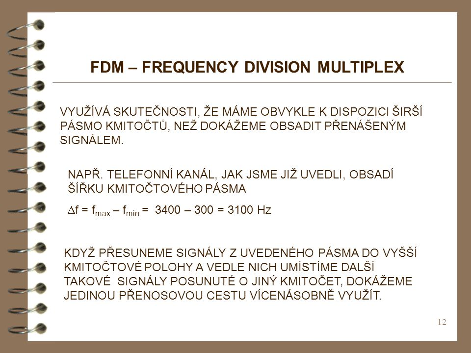 FDM – FREQUENCY DIVISION MULTIPLEX