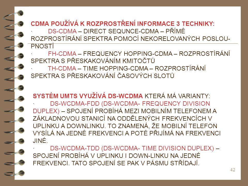 CDMA POUŽÍVÁ K ROZPROSTŘENÍ INFORMACE 3 TECHNIKY: