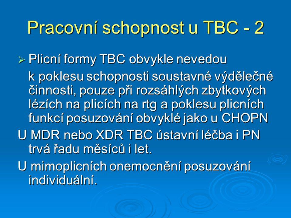 Pracovní schopnost u TBC - 2