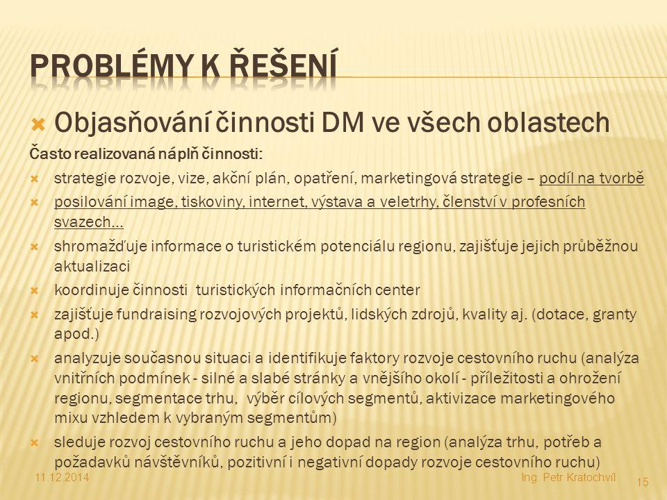 Problémy k řešení Objasňování činnosti DM ve všech oblastech