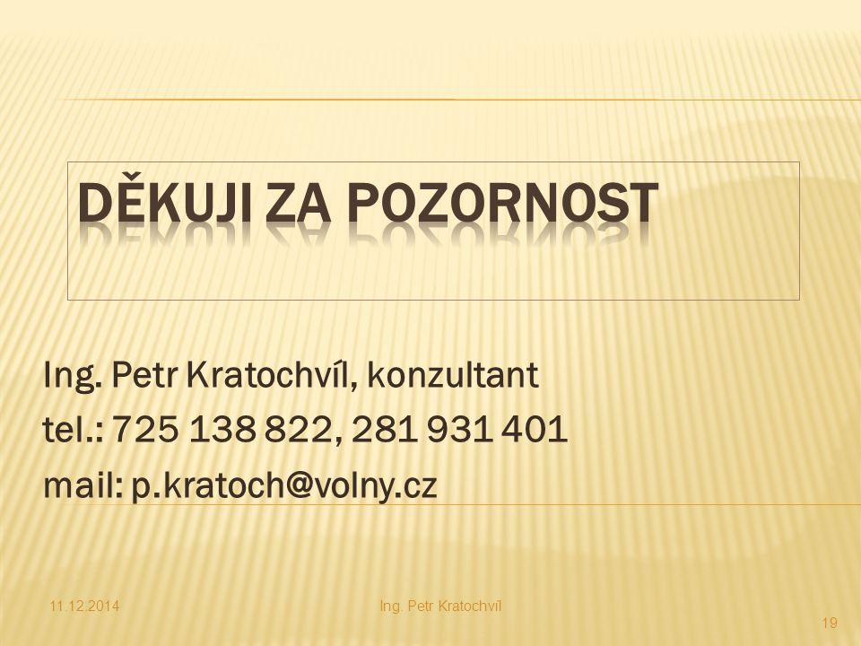 Děkuji za pozornost Ing. Petr Kratochvíl, konzultant