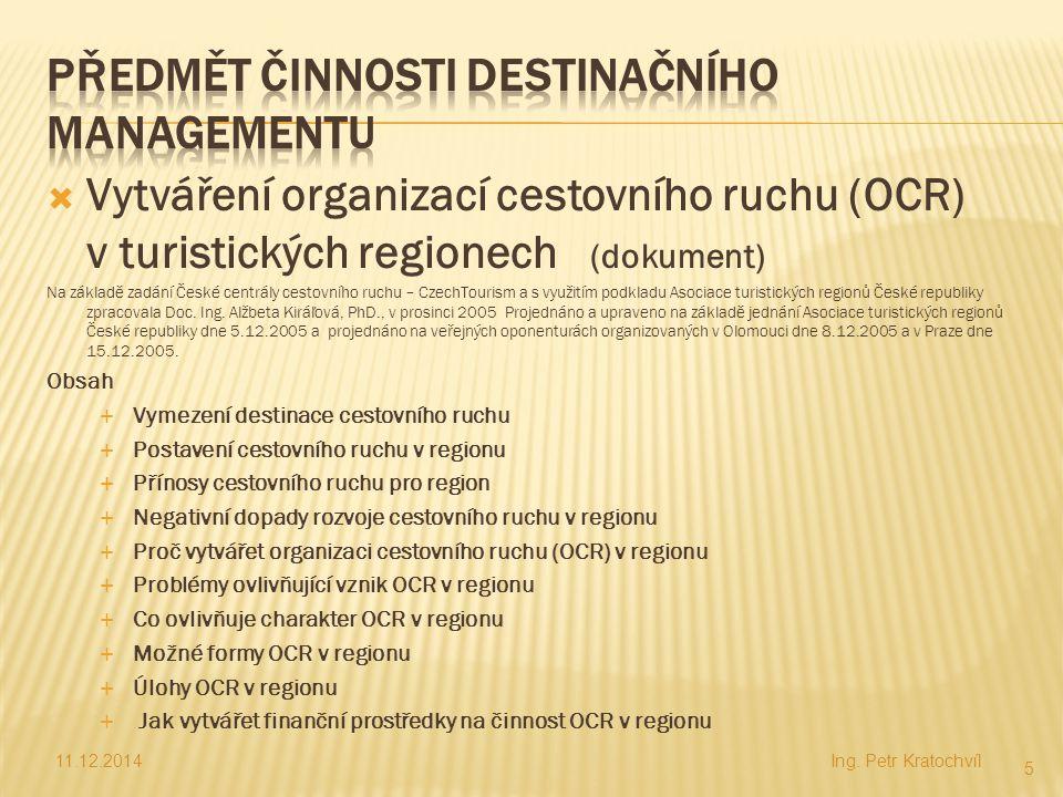 Předmět činnosti Destinačního Managementu