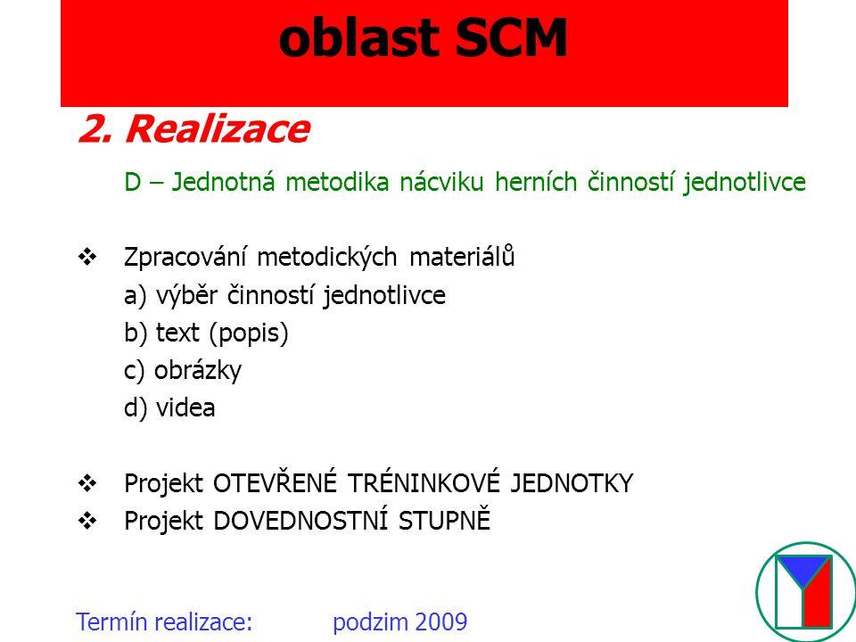 oblast SCM 2. Realizace. D – Jednotná metodika nácviku herních činností jednotlivce. Zpracování metodických materiálů.