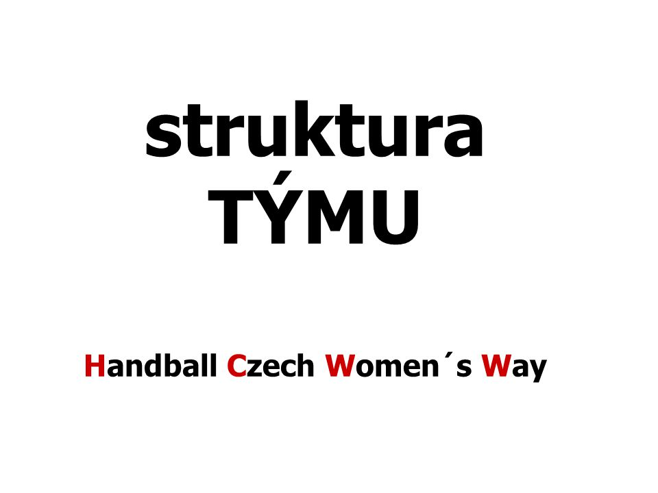 struktura TÝMU Handball Czech Women´s Way