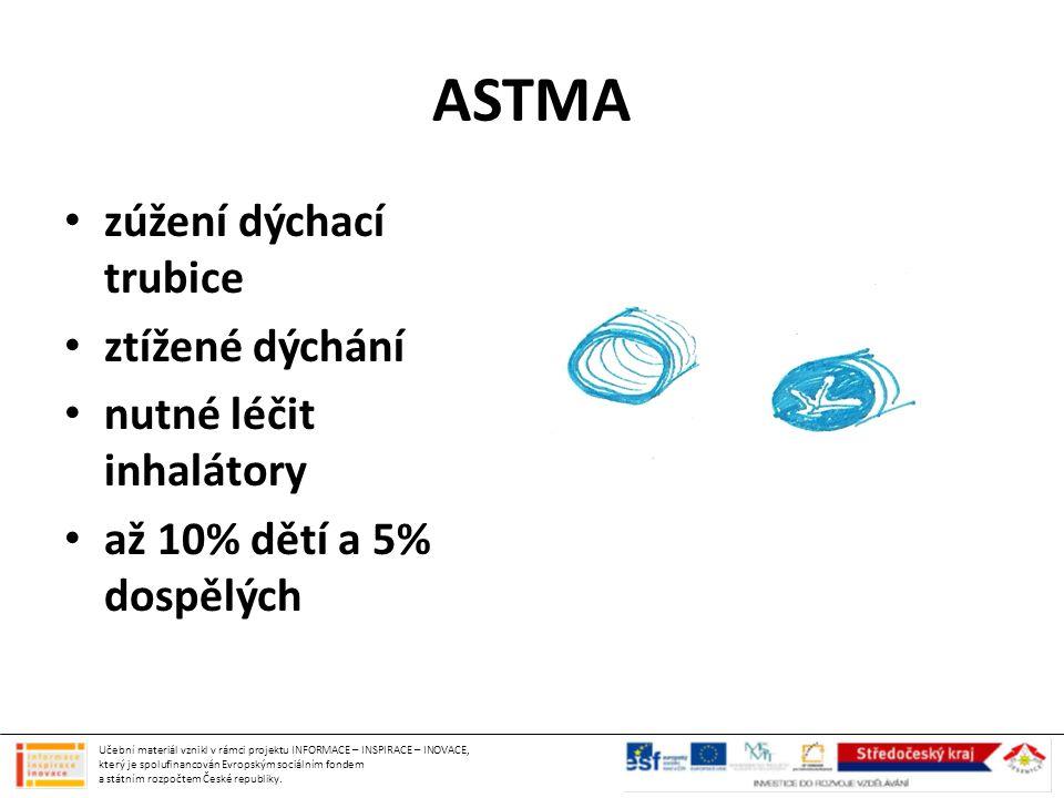 ASTMA zúžení dýchací trubice ztížené dýchání nutné léčit inhalátory