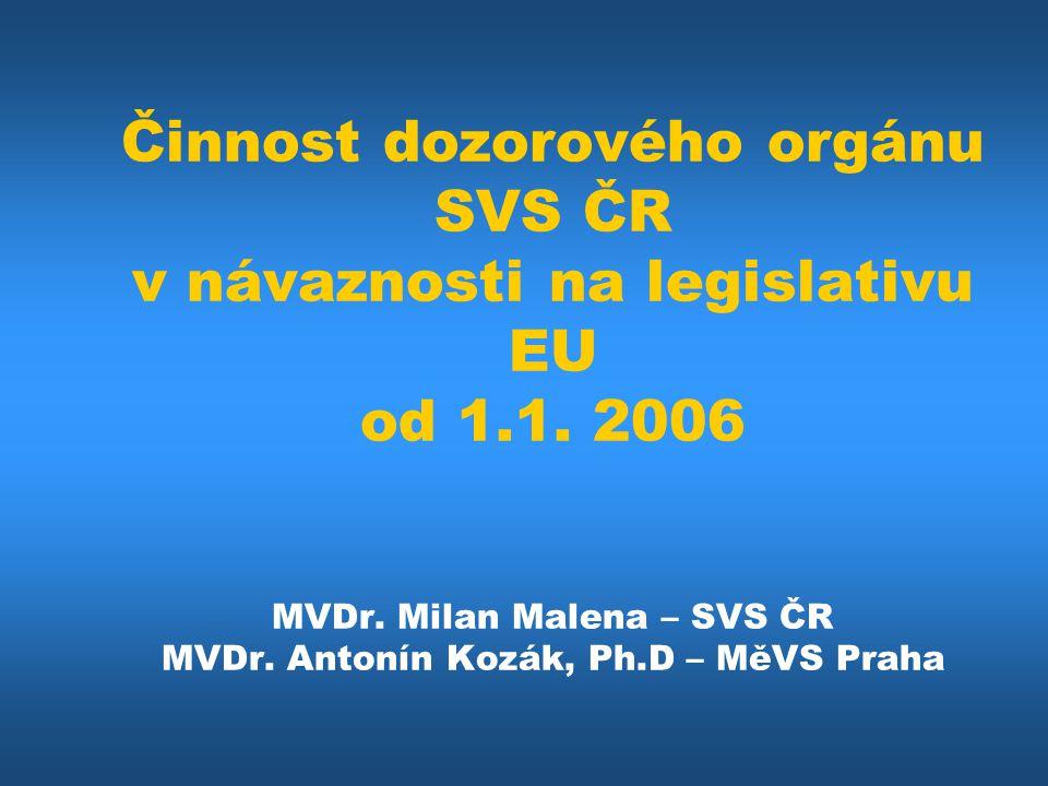 Činnost dozorového orgánu SVS ČR v návaznosti na legislativu EU od 1.1.