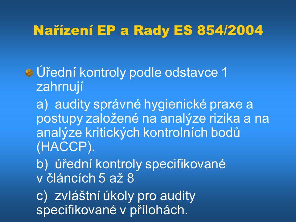 Nařízení EP a Rady ES 854/2004 Úřední kontroly podle odstavce 1 zahrnují.