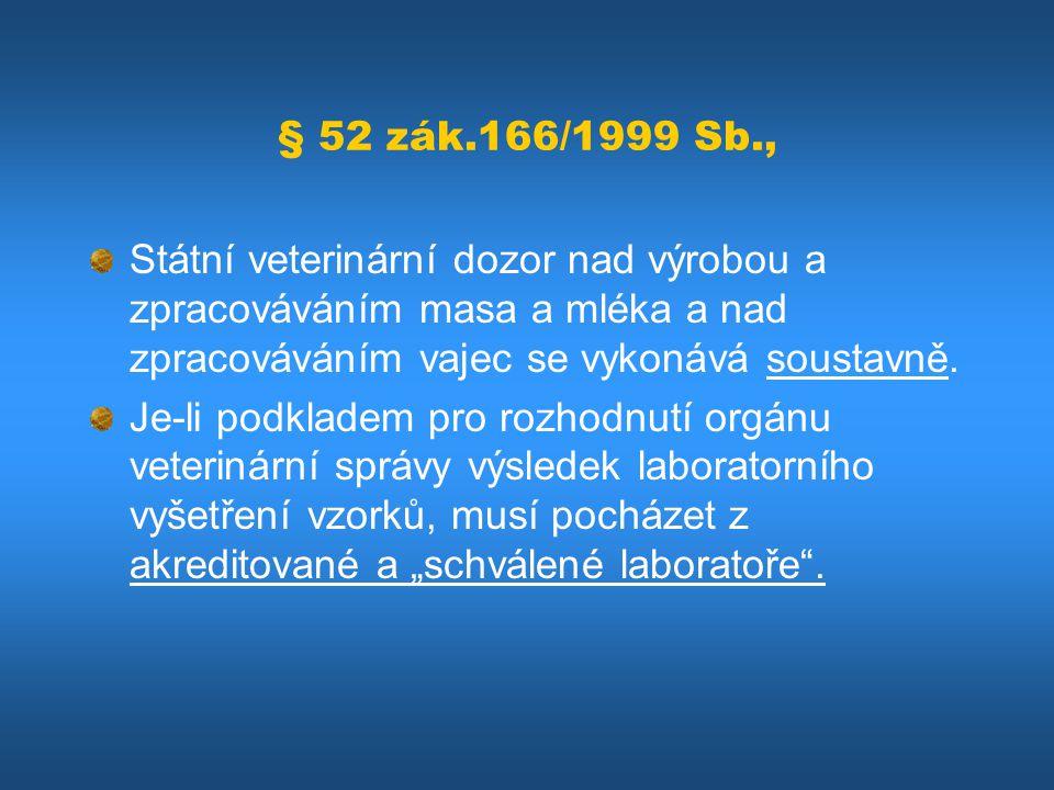 § 52 zák.166/1999 Sb., Státní veterinární dozor nad výrobou a zpracováváním masa a mléka a nad zpracováváním vajec se vykonává soustavně.