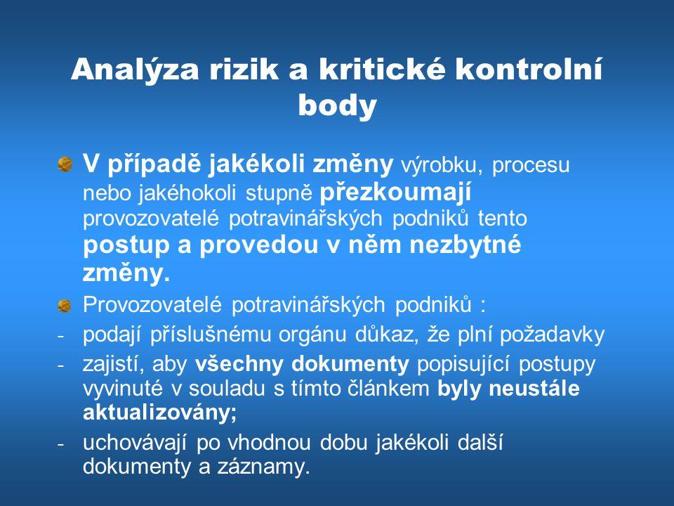 Analýza rizik a kritické kontrolní body