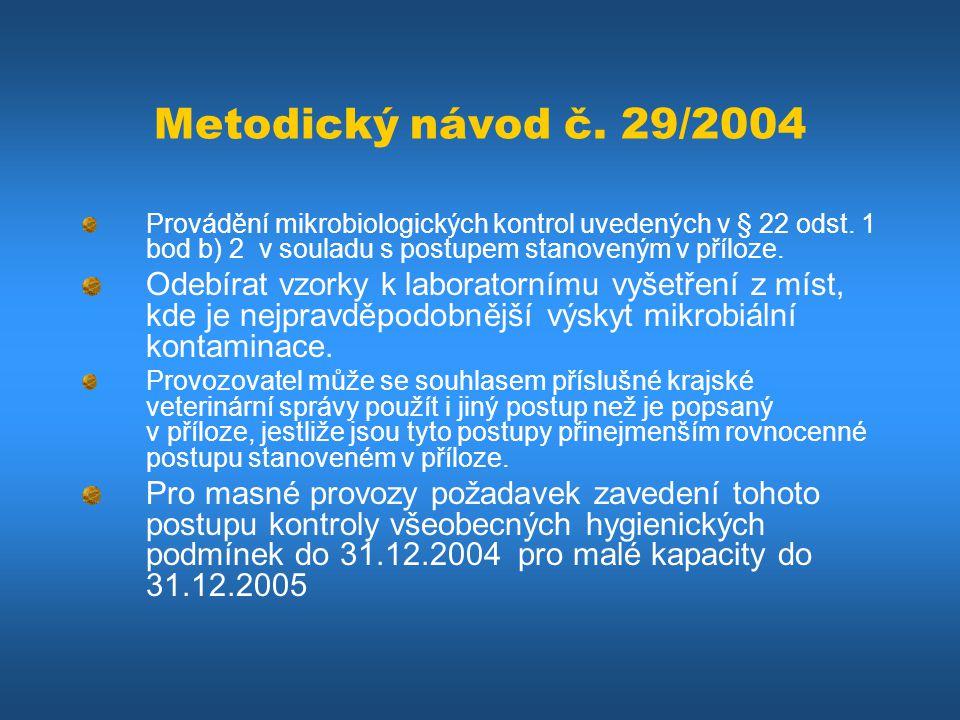 Metodický návod č. 29/2004 Provádění mikrobiologických kontrol uvedených v § 22 odst. 1 bod b) 2 v souladu s postupem stanoveným v příloze.