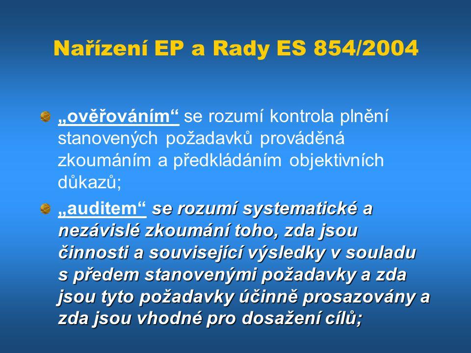 """Nařízení EP a Rady ES 854/2004 """"ověřováním se rozumí kontrola plnění stanovených požadavků prováděná zkoumáním a předkládáním objektivních důkazů;"""