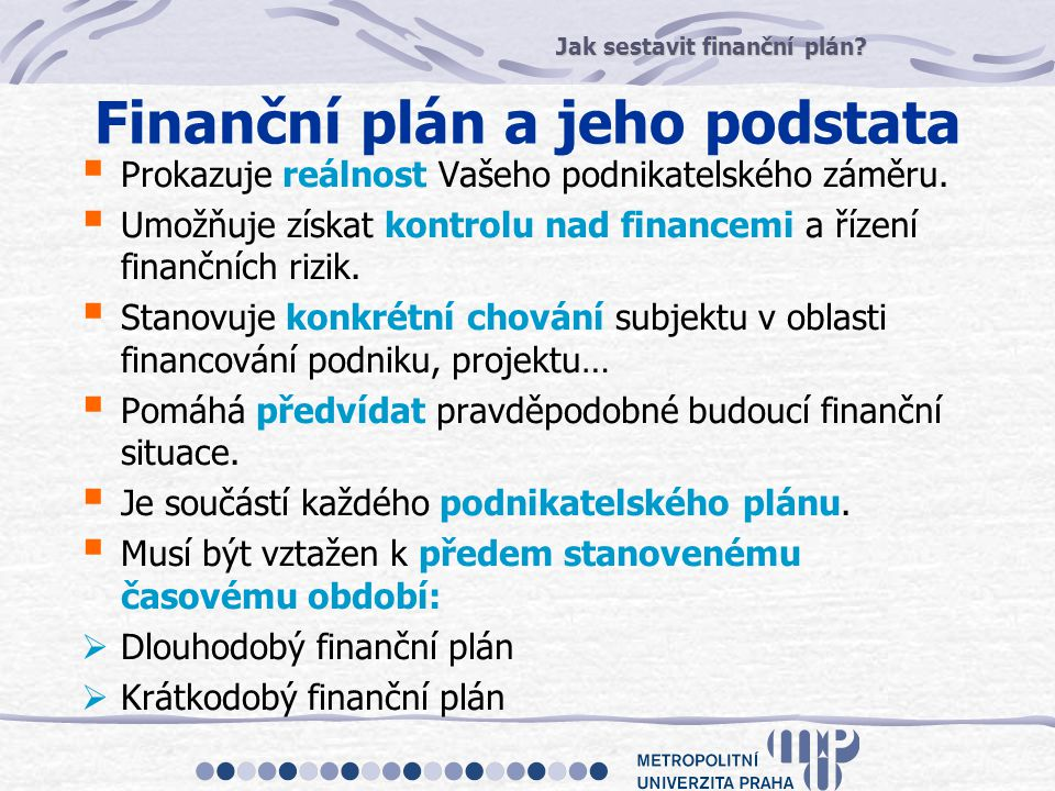 Finanční plán a jeho podstata